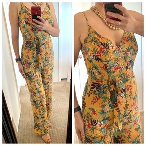 Floral Jumpsuit Pants Belted Tropical